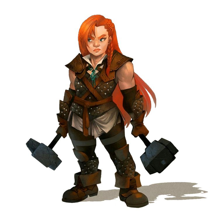 Female Dwarf Dual Wield Hammer Fighter - Pathfinder PFRPG DND D&D d20 fantasy