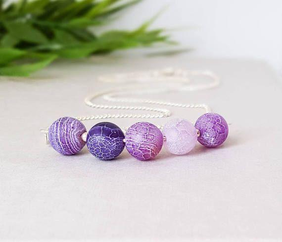 Cracked agate purple necklace gemstone bar bar necklace
