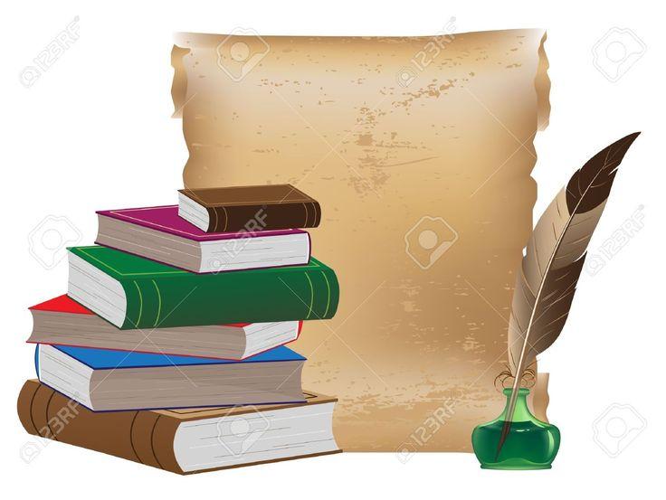Pila de libros antiguos, manuscritos antiguos, tintero y pluma Foto de archivo - 13187812