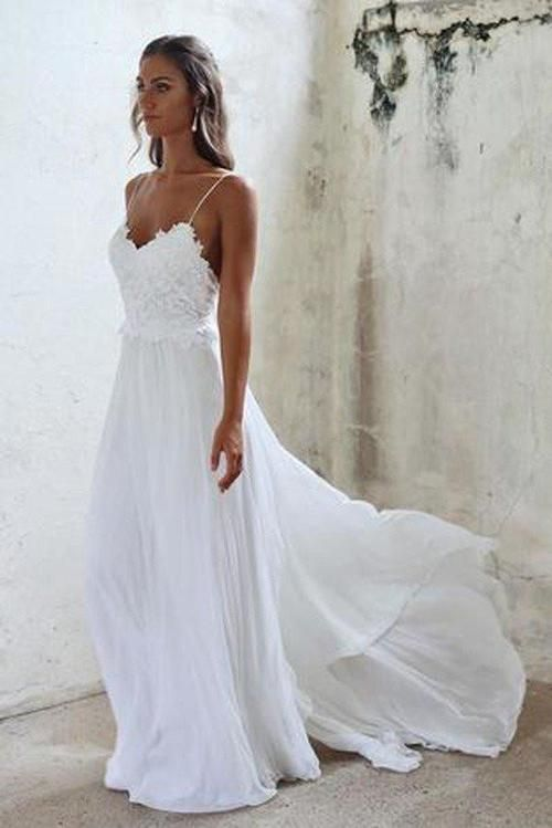 Beautiful A Line Lace Long White Spaghetti Straps Beach Wedding Dress  Okdresses #wedding