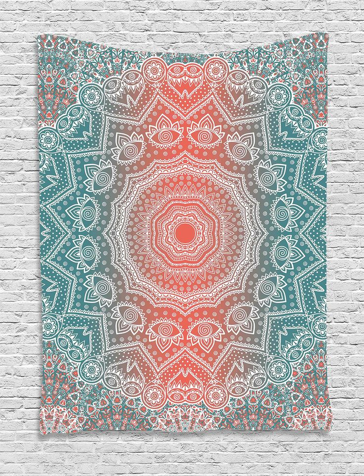 Amazon.com: Coral and Teal Tapestry by Ambesonne, Modern Tribal Mandala Tibetan Healing Motif with Floral Geometric Ombre Art, Wall Hanging for Bedroom Living Room Dorm, 60 W x 80 L Inches, Coral Teal: Home & Kitchen | @giftryapp