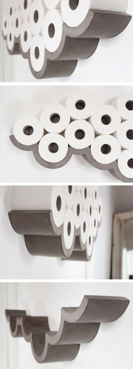 Concrete cloud shaped toilet paper holder! Amazing! #product_design #art #design #amazing #inspiration #deco: