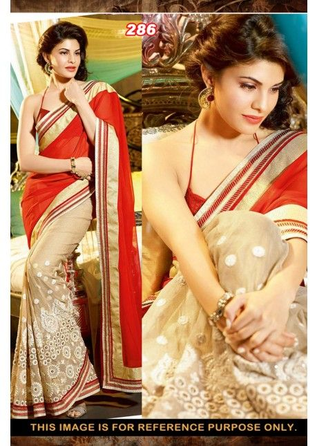Jacqueline Fernandes's Beige Colored Embroidered Faux Georgette #Saree #сари #болливуд