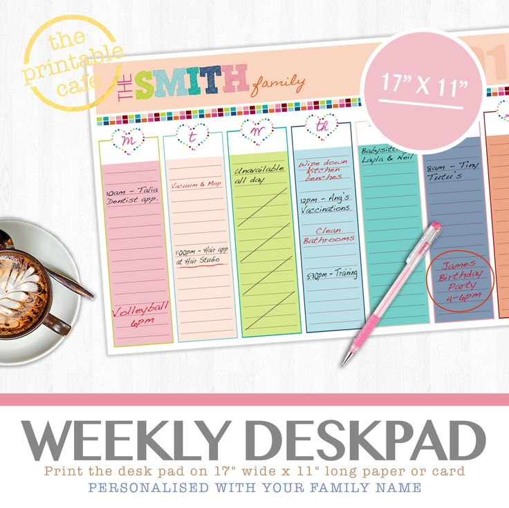 2015/16 Weekly To Do Schedule - Personalized Customized Organizer Planner Digital Printable - Notes to do sketch pad (5.00 USD) by theprintablecafe