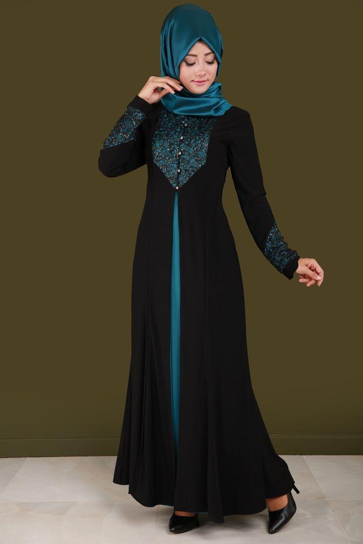 Çift Renk Pul Payetli Abiye Siyah&Petrol Ürün Kodu: PN32438 --> 129.90 TL