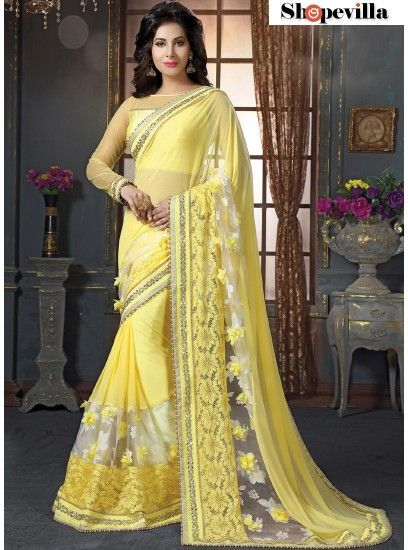 Invigorating Yellow Net Designer Saree-4209