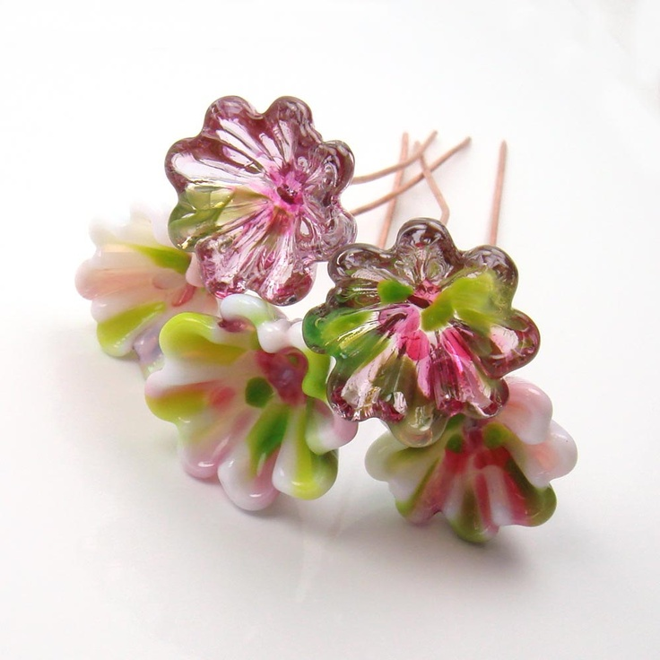 Lampwork glass Bell flowers   -  Sweet Pea  -  flower headpins, rose, pink, green, copper wire. (via Etsy.)