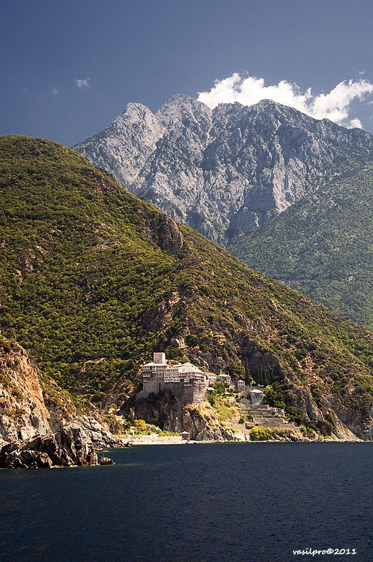 Mt. Athos and Dionysiou Monastery, and mount Athos (2033 meters) in back front