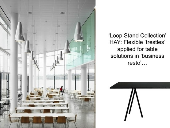 'Loop Stand Collection' HAY: Flexible 'trestles' applied for table solutions in 'business resto'…