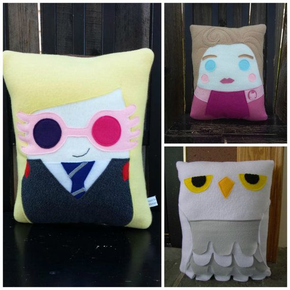 Wizard pillow Harry Hermione Ron Luna Draco plush by telahmarie