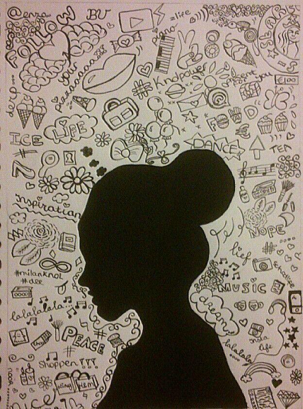 Silhouet met achtergrond van gedachten/gevoelens