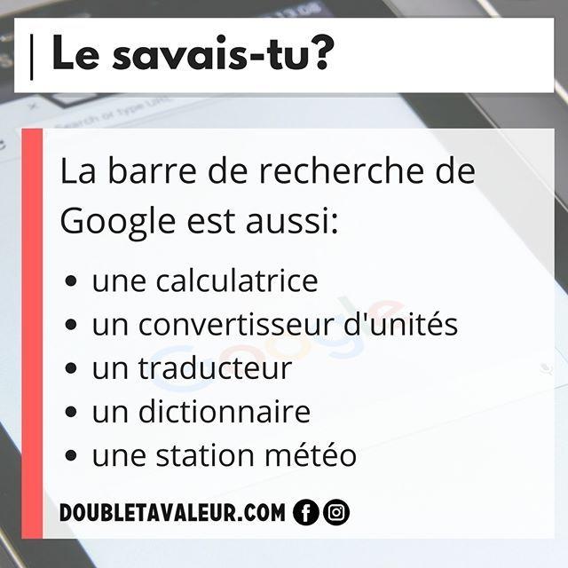 Google est un outil puissant, qu'il soit utilisé comme moteur de recherche ou pour l'une de ses nombreuses autres fonctions! #doubletavaleur #doubletavaleur.com #blogue #blog #productivité #efficacité #gtd #getthingsdone #travail #emploi #entrepreneur #intrapreneur #entrepreneuriat #intrapreneuriat #qc #québec #google #recherche
