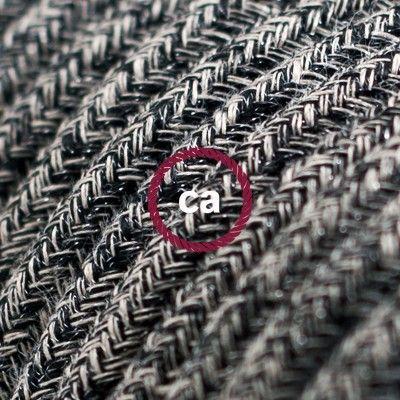 Rond flexibel strijkijzersnoer RS81 - geweven onyx tweed, natuurlijk linnen afgewerkt met glitter en zwart katoen