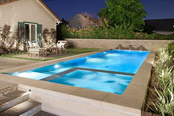 I Like The Simple Pool Design With Corner Hot Tub And Tanning Deck Gradual Entry Would Probably Want Shorter And Wi California Pools Custom Pools Pool Designs
