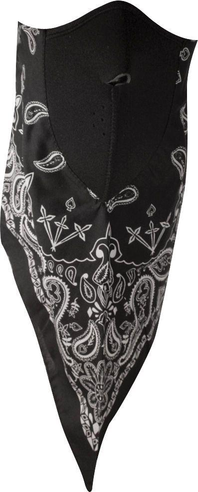 Zan Headgear Neodanna Paisley Cotton Bandanna W/Neoprene Face Mask Black Wneo101