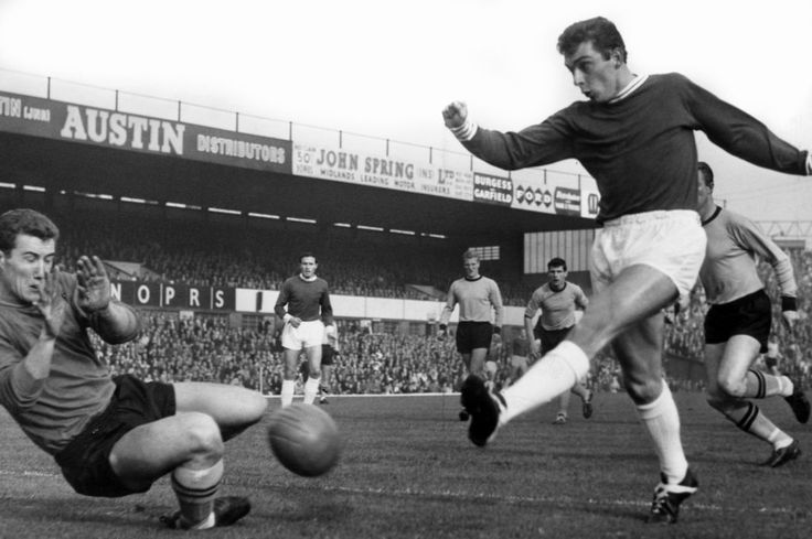 Denis Thwaites, Birmingham City Football Player in action, league division one match against Wolves at St Andrews, Saturday 26th October 1963. Thwaites shot is blocked by Wolves keeper Fred Davies, Final score Birmingham 2-2 Wolves.