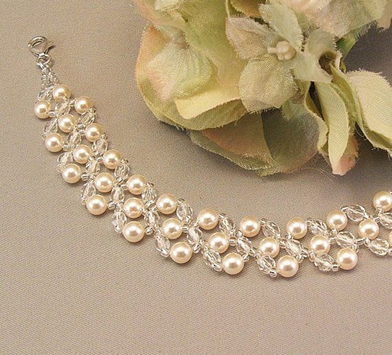 Cream Pearl and Crystal Bridal Bracelet Wedding Day by Handwired, $47.00