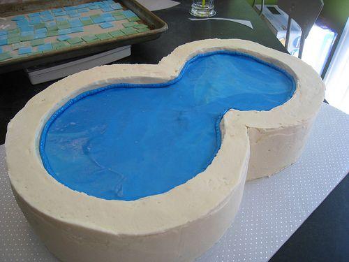 swimming pool cake | making of the swimming pool cake