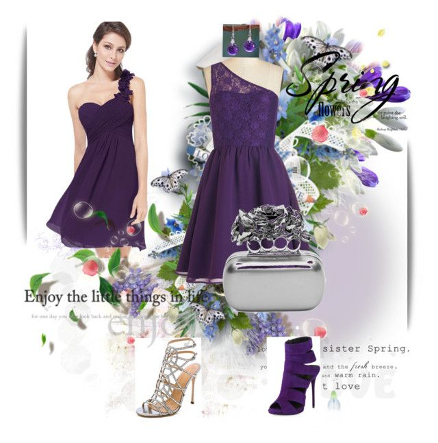 Beauty in purple by siempreguapaconnormacano on Polyvore featuring moda, Sergio Rossi, Giuseppe Zanotti, Alexander McQueen and NOVICA