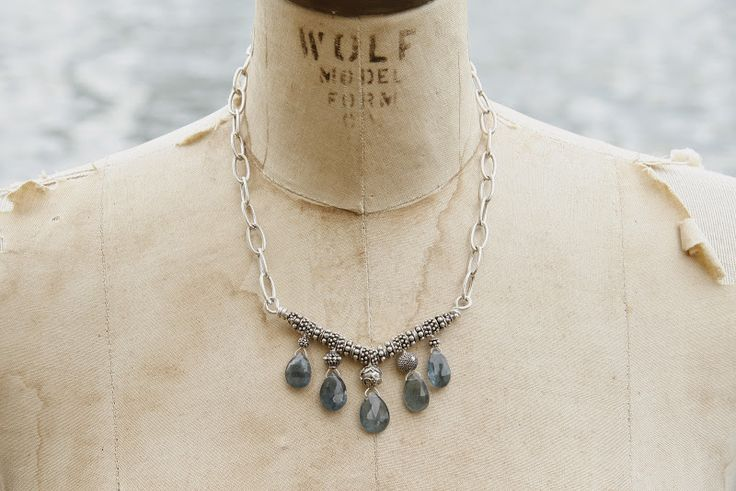 Deep blue-green shades of moss aquamarine stones on a sterling silver chain.