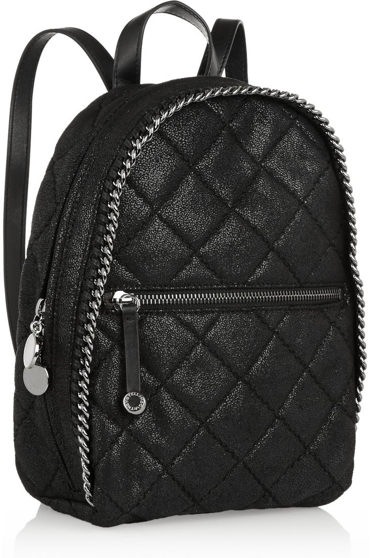 Stella McCartney backpack. Its fauxleather, sparkly,quilted with a chain design. Stella had me in mind.