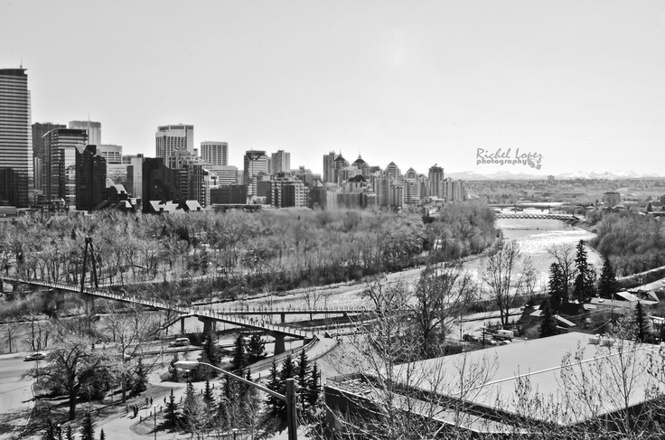 City of #Calgary in black and white.