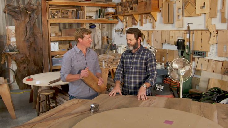 Nick Offerman Offers Words of Woodworking Wisdom While Giving a Tour of His Shop