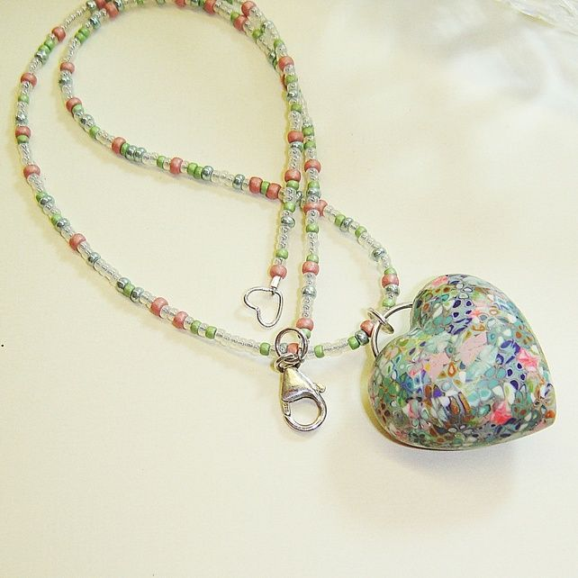 Cottage Garden Polymer Clay Heart Necklace by Shoogly Beads on FolksyGardens Polymer, Diy Polymer Clay