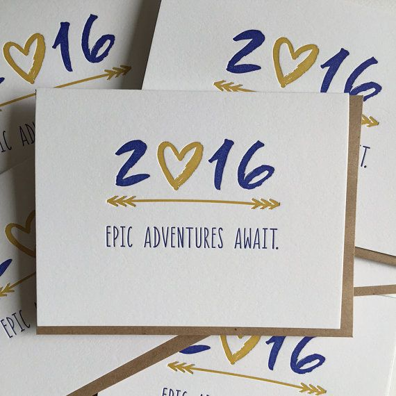 New Year's Cards SET OF 6 2016 New Year's Holiday by jdeluce