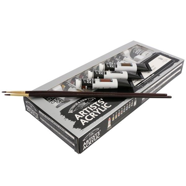 Winsor & Newton Målarset Akrylfärger och Penslar 8x20 ml