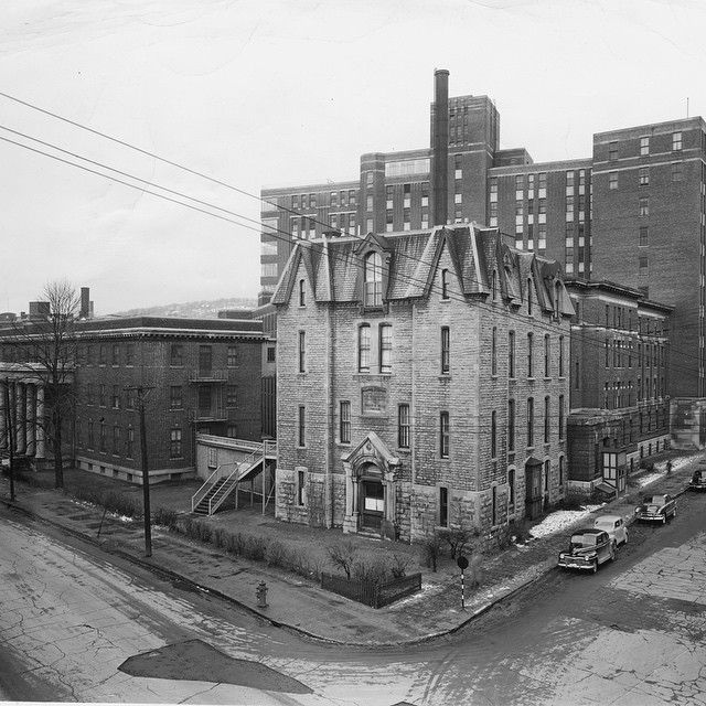 This 1951 photowas taken from Dorchester Blvd. (now René-Lévesque Blvd.), It shows the Western Division of the Montreal General Hospital. Several buildings were demolished to make way for the Montreal Children's Hospital, which took over the site in 1956. Photo found in the Montreal Gazette Archives