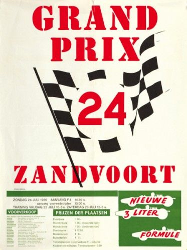 Grand Prix 24 Zandvoort. Original lithograph in colours, printed in The Netherlands, 1966