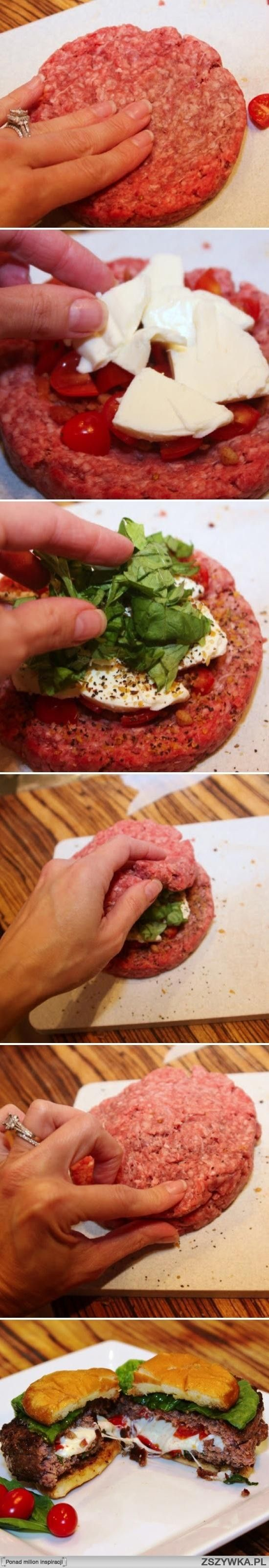 tomato mozzarella burgers ... Something new to do with all this ground beef we have