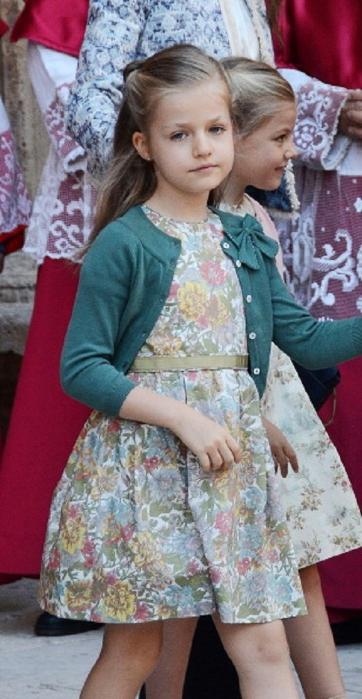 (L-R) Infanta Leonor and Infanta Sofia of Spain at the Cathedral of Palma de Mallorca after attending Easter Sunday service mass.