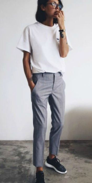 Petra + tomboy attire + grey slacks + adidas sneakers + white tee + classic boyish style. Trousers: Jil Sander, Tee: The Undone Store, Shoes: Adidas.