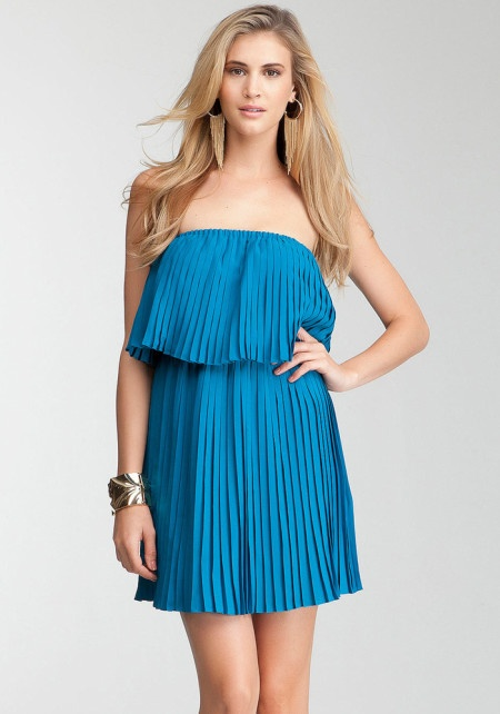 Strapless Pleated Dress Turkish Tile