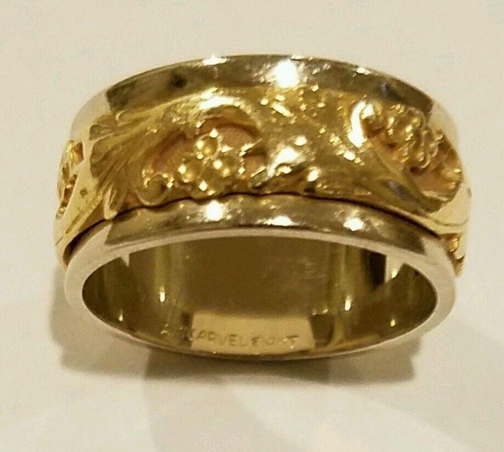 "ArtCarved Wedding Band, Engraved Design ""Lyric"" 14K White & Yellow Gold Size 6.5 #ArtCarved"