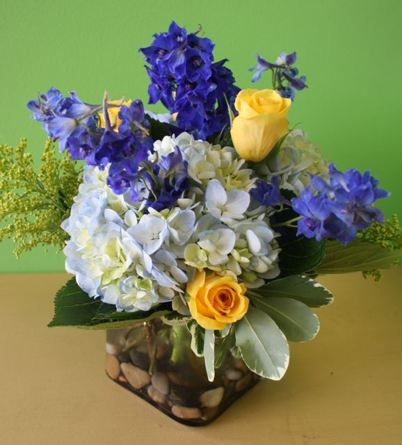 blue and yellow flowers for wedding | Blue, white, and yellow wedding flower bouquets for Manayunk Brewery ...