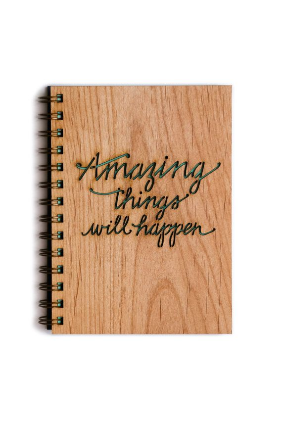 Amazing Things Will Happen Wood Journal Everyday Inspiration by Cardtorial, $20.00