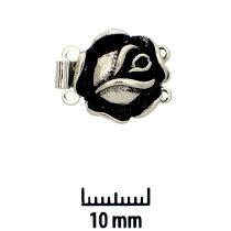 Rhodium Plate, Old Palladium Color, Rose, Push-Pull Box Clasp, 3-strand, 14mm, (1 clasp)    Land of Odds - Jewelry Design Center  www.landofodds.com