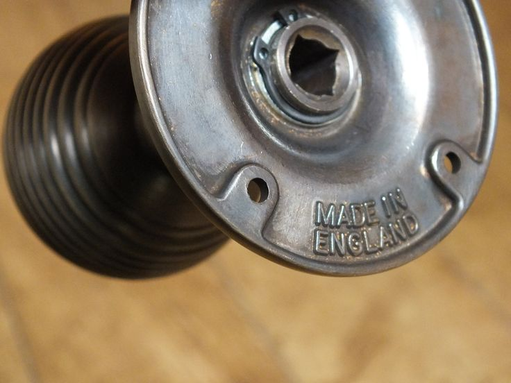 """""""Made in England"""" stamped across the back of one of the range of British made door knobs, from British Ironmongery. We specialise in the supply of handcrafted, British made door & window hardware. From period and vintage style reproduction ironmongery (including Tudor, Georgian, Edwardian & Victorian) to contemporary styles, we supply the highest quality architectural ironmongery, all using traditional methods & individually finished by hand. Available from…"""