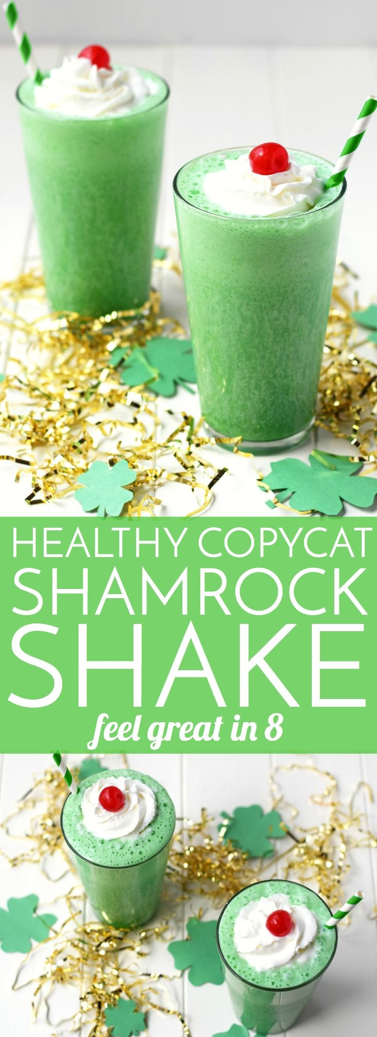 Healthy Shamrock Shake Recipe - This healthy copycat recipe is the perfect 160 calorie treat to help you avoid the drive-through!
