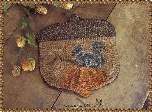 Primitive Autumn Acorn Squirrel Pumpkin Hand Hooked Wool Fall Folk Art Rug Mat