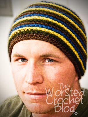 The Worsted Crochet Blog: Men's Striped Beanie Pattern FREE - also in child and women size
