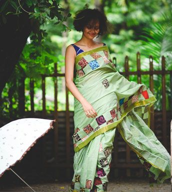 Sarees - Appliqued Kerala Cotton- Kalamkari Applique On Asparagus Green Cotton By SUTA PC 18534 - Thumbnail