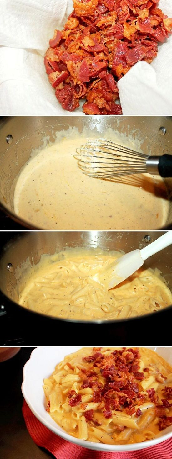 Stove Top Bacon Mac and Cheese Recipe - I feel like this could be good, yet very very bad. . . for my a$$ LOL