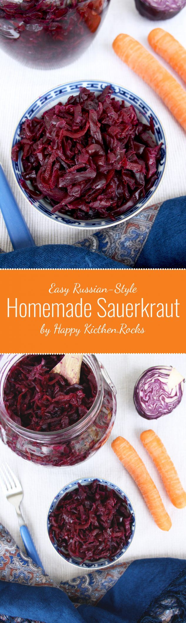 Easy Russian-Style Homemade Sauerkraut: Delicious and healthy way to use leftover cabbage. You only need 4 ingredients and 20 minutes to make it! Take advantage from the numerous health benefits of fermented food.