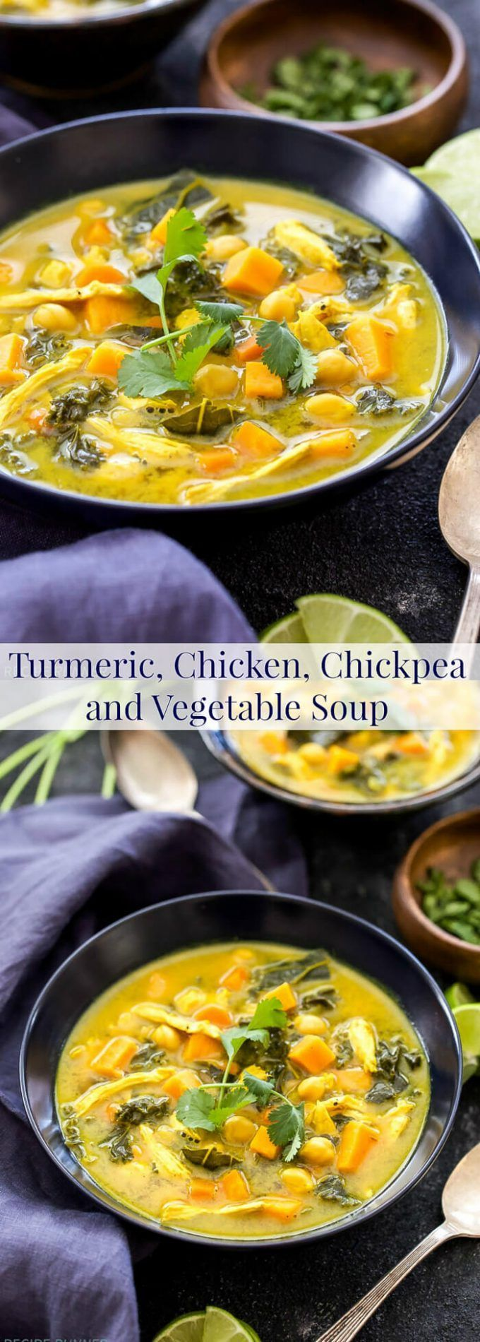 Golden yellow and loaded with superfoods! This Turmeric, Chicken, Chickpea and Vegetable Soup is perfect to make when you're feeling under the weather or just craving a flavorful and healthy soup!
