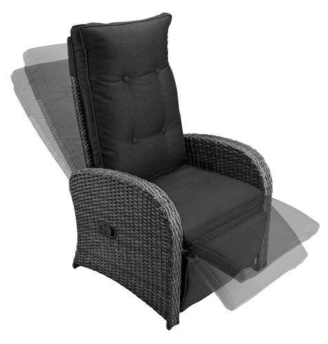 Recliner STORD alu/petan w/cushion grey