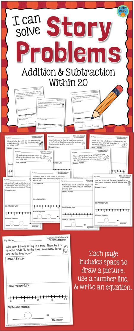 Word problems for first graders. 30 story problem worksheets covering addition and subtraction within 20.
